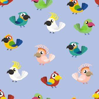Modello senza cuciture del fumetto pappagallo tropicale sveglio