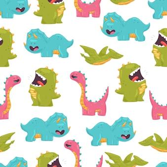 Modello senza cuciture del fumetto sveglio dei dinosauri su fondo bianco per carta da parati, confezionamento, imballaggio e sfondo.