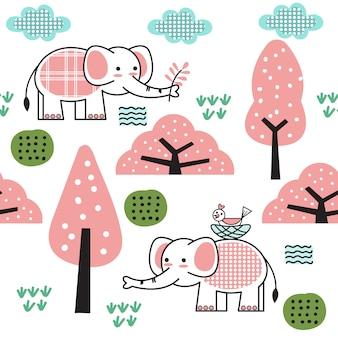 Modello senza cuciture del fumetto sveglio del bambino elefante