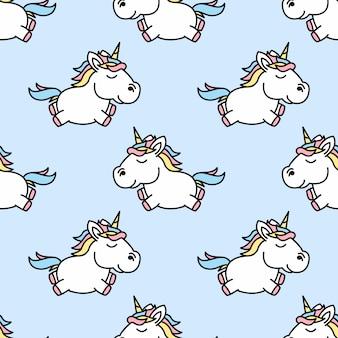 Modello senza cuciture del fumetto sveglio unicorno