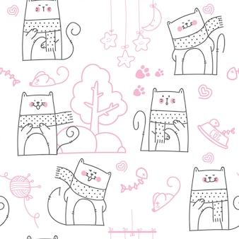 Modello senza cuciture del gatto sveglio del fumetto