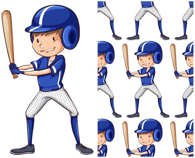 Modello senza cuciture del giocatore di baseball isolato su bianco