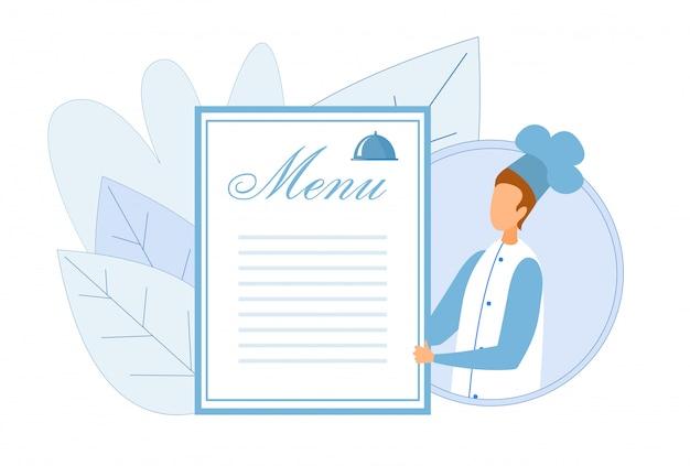 Modello senza cuciture del menu di holding empty board del cuoco unico