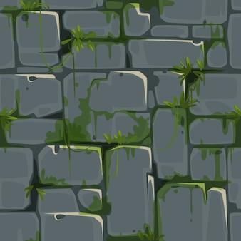 Modello senza cuciture del muro di mattoni di pietra per il vettore di tema della giungla