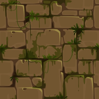 Modello senza cuciture del muro di mattoni giallo per il vettore di tema della giungla