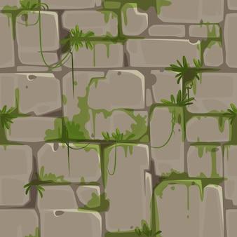 Modello senza cuciture del muro di mattoni per il vettore di tema della giungla