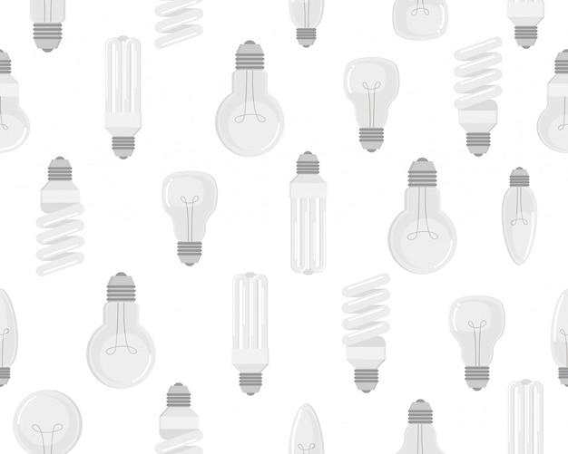 Modello senza cuciture del set di vettore di lampadina elettrica