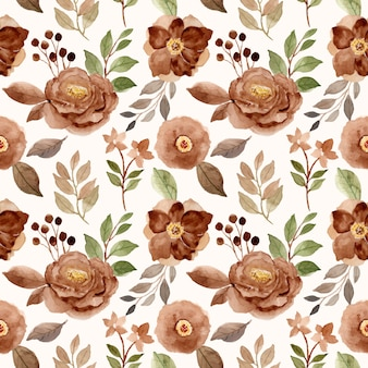 Modello senza cuciture dell'acquerello bello floreale marrone