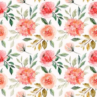 Modello senza cuciture dell'acquerello del fiore floreale rosa