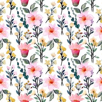 Modello senza cuciture dell'acquerello del fiore giallo rosa