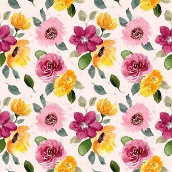 Modello senza cuciture dell'acquerello del fiore rosa giallo
