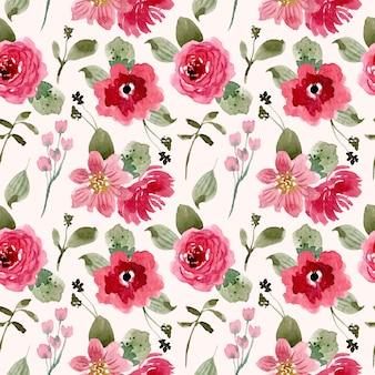 Modello senza cuciture dell'acquerello del fiore rosa rosso grazioso