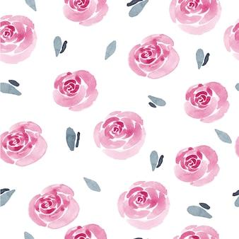Modello senza cuciture dell'acquerello delle rose e della foglia