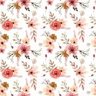 Modello senza cuciture dell'acquerello di fiori dell'annata di terracotta