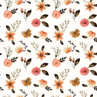 Modello senza cuciture dell'acquerello di terracota mini florals