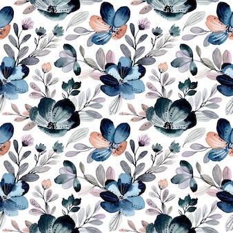 Modello senza cuciture dell'acquerello floreale astratto verde blu