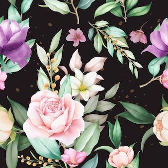 Modello senza cuciture dell'acquerello floreale disegnato a mano