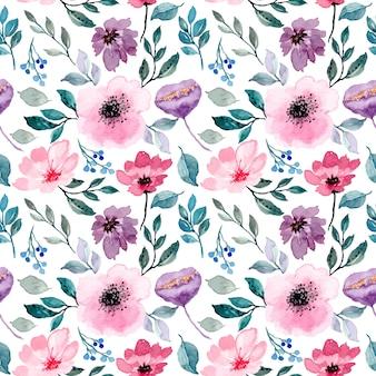 Modello senza cuciture dell'acquerello floreale porpora rosa