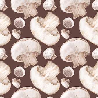 Modello senza cuciture dell'acquerello rintracciato con funghi prataioli