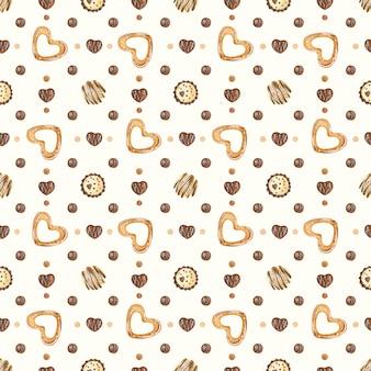 Modello senza cuciture dell'acquerello romantico dolce con caramelle di cioccolato