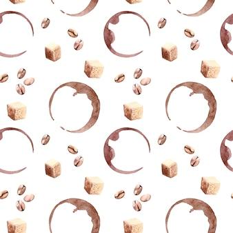 Modello senza cuciture dell'acquerello sveglio con puntini di caffè, fagioli e zucchero