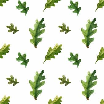 Modello senza cuciture dell'acquerello verde foglie di quercia