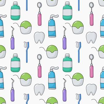 Modello senza cuciture dell'attrezzatura divertente sveglio del dentista su bianco