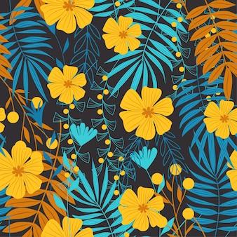 Modello senza cuciture dell'estratto di tendenza di estate con le foglie tropicali