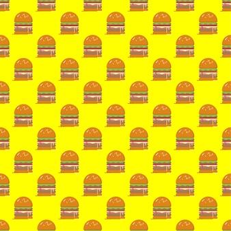 Modello senza cuciture dell'hamburger su fondo giallo modello senza cuciture di vettore dell'alimento veloce.