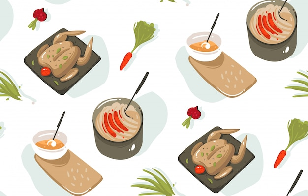 Modello senza cuciture dell'illustrazione divertente di tempo di cottura disegnato a mano con attrezzatura da cucina, verdure, alimento