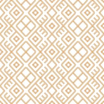 Modello senza cuciture dell'ornamento della catena dell'oro su fondo bianco.
