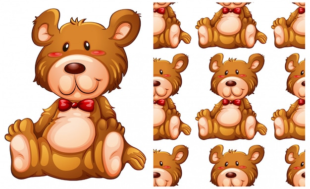 Modello senza cuciture dell'orsacchiotto isolato su bianco