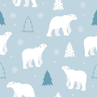 Modello senza cuciture dell'orso polare sveglio.