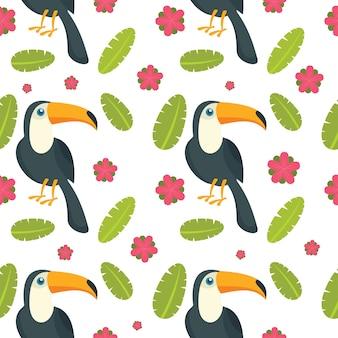 Modello senza cuciture dell'uccello del pappagallo del tucano