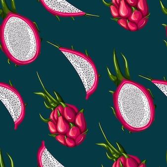 Modello senza cuciture della frutta rossa del drago su fondo nero. intero, metà e fetta. carta da parati frutti tropicali.