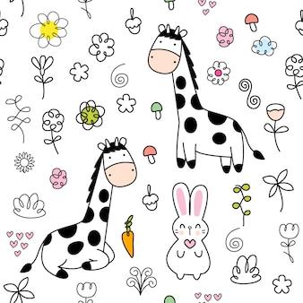 Modello senza cuciture della giraffa sveglia del bambino del fumetto