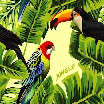 Modello senza cuciture della giungla con foglie di banana pappagallo tucano