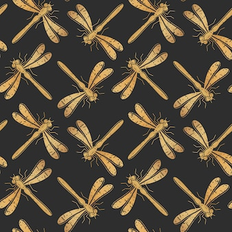 Modello senza cuciture della libellula dorata per progettazione del tessuto, carta da parati, carta da imballaggio o scrapbooking.