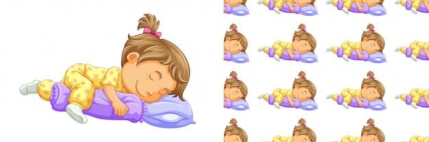 Modello senza cuciture della ragazza addormentata isolato su bianco