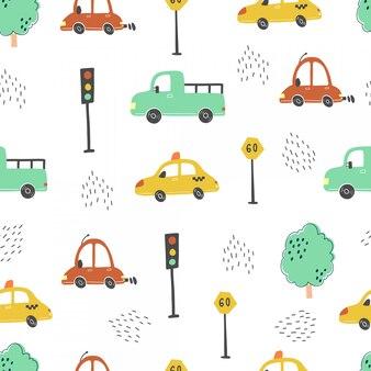 Modello senza cuciture delle automobili di bambino di stile del fumetto. illustrazione.