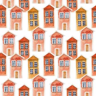 Modello senza cuciture delle case di legno islandesi rosse dell'acquerello