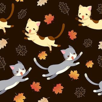 Modello senza cuciture delle foglie di autunno e del gatto