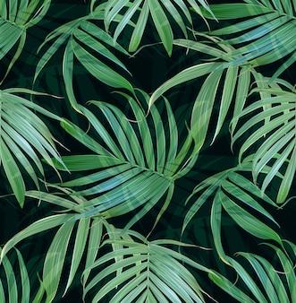 Modello senza cuciture delle foglie di palma tropicali di vettore.