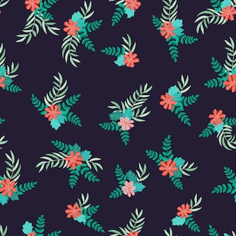 Modello senza cuciture delle foglie floreali dell'acquerello