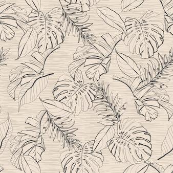 Modello senza cuciture delle foglie floreali e tropicali d'annata,