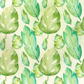 Modello senza cuciture delle foglie tropicali dell'acquerello