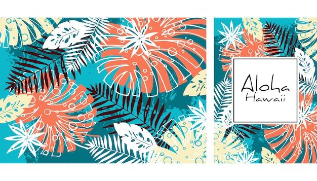 Modello senza cuciture delle foglie tropicali, illustrazione disegnata a mano di vettore dell'acquerello. stampa di mostri e palme. design estivo.