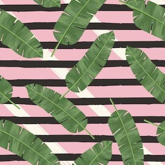 Modello senza cuciture delle foglie verdi tropicali di vettore