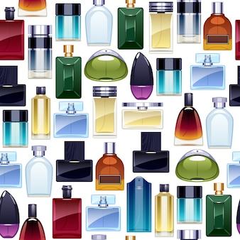 Modello senza cuciture delle icone delle bottiglie di profumo