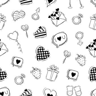 Modello senza cuciture delle icone di san valentino carino con stile doodle
